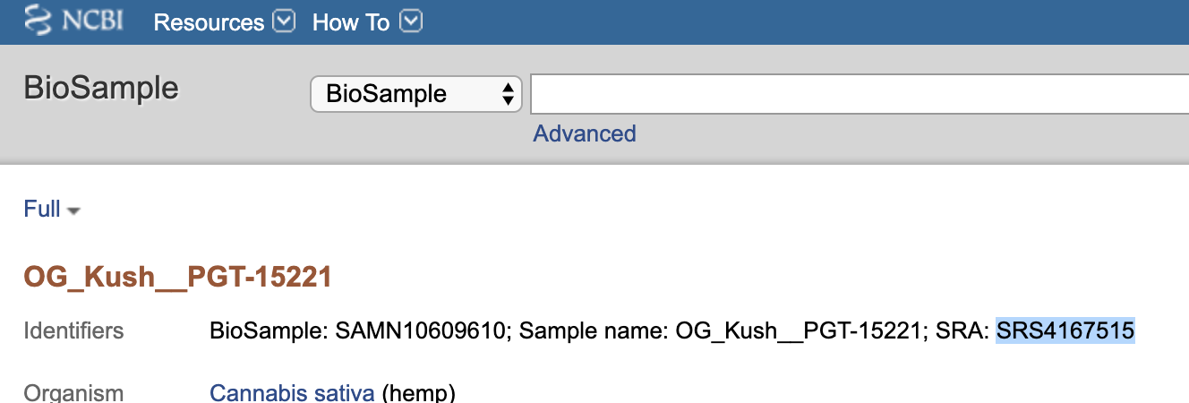 Screen capture of NCBI page with SRA identifier highlighted
